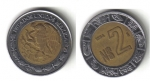 monedas de America - México -  2Nuevos Pesos