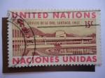 Stamps : America : ONU :  Edificio de la ONU,Santiago de Chile - United Nations