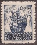 Sellos de Europa - España -  450 Aniversario llegada Colón a Barcelona  1943  5 cents azul