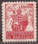 sellos de Europa - España -  450 Aniversario llegada Colón a Barcelona  1943  5 cents rojo