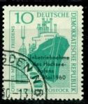 Stamps Germany -  477 - Construccion del puerto de Rostock, barco  Amistad .