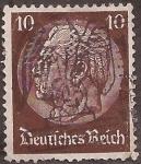Stamps : Europe : Germany :  Paul von Hinderburg. Matasellos águila sobre cruz gamada  1934 10 reichspfennig
