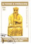 Stamps São Tomé and Príncipe -  campeonato mundial de ajedrez-figura rey
