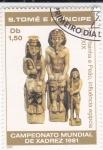Stamps São Tomé and Príncipe -  campeonato mundial de ajedrez-figura rey,reina y peón