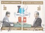 Sellos de Africa - Santo Tomé y Principe -  campeonato mundial de ajedrez- A.KARPOV-V.KORTCHNOI