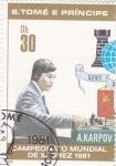 Sellos de Africa - Santo Tomé y Principe -  campeonato mundial de ajedrez- A.KARPOV-