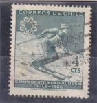 Sellos de America - Chile -  campeonato mundial de esqui-1966