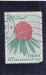 Sellos de Asia - Líbano -  flores-