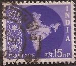 Sellos de Asia - India -  Mapa de la India  1958 15 naye paisa