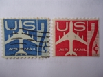 Stamps United States -  Air Mail 1952-1967- Serie:Shilhoutte of Jet Airlines.
