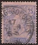 Sellos del Mundo : Europa : Bélgica : Rey Leopoldo II  1885 25 céntimos