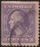 Sellos de America - Estados Unidos -  George Washington 1914  3 centavos perf 10,5
