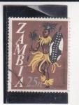 Stamps Zambia -  INDIGENA DANZANDO