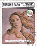 Stamps Burkina Faso -  EL NACIMIENTO DE VENUS-BOTTICELLI