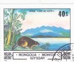Stamps Mongolia -  PAISAJE Y CASTOR