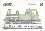 Stamps Spain -  CENTENARIO FERROCARRIL IGUALADA-MARTORELL (24)