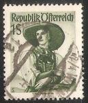Stamps Austria -  Mujer en traje nacional, Tirol, Pustertal,