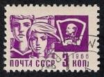 Stamps Russia -  Niño, niña y la bandera de Lenin