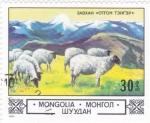 Sellos de Asia - Mongolia -  ganado lanar