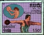 Stamps : America : Cambodia :  Intercambio 0,20 usd 1,50 r. 1987