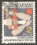 Stamps Czechoslovakia -  Bowling Union, 50th Anniv. bolos