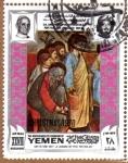 """Sellos del Mundo : Asia : Yemen : """"EL LAVADO DE PIES"""" POR GIOTTO"""