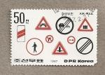 Sellos de Asia - Corea del norte -  Señales de tráfico