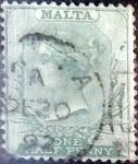 Stamps : Europe : Malta :  Intercambio 0,60 usd 1/2 p. 1885