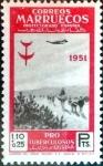 Stamps Spain -  Intercambio 4,25 usd 1,10 + 0,25 ptas. 1951
