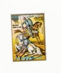 sellos de Africa - Guinea Ecuatorial -  Dom QUIJOTE combate en la playa