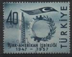 Sellos de Asia - Turquía -  SÍMBOLOS  DE  LA  INDUSTRIA  Y  BANDERA