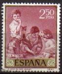 Stamps Spain -  ESPAÑA 1960 1277 Sello Bartolomé Esteban Murillo El Juego del Dado 2,50pts usado