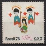de America - Brasil -  NAVIDAD  1976.  LA  VIRGEN  Y  EL  NI�O  CON  �NGELES.