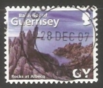 Stamps United Kingdom -  Guernsey  - rocks at albecq
