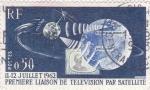 Sellos del Mundo : Europa : Francia : PRIMERA TRANSMISION DE TELEVISIÓN POR SATÉLITE