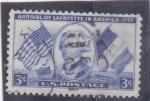 Sellos de America - Estados Unidos -  LLEGADA DE LAFAYETTE A AMERICA-1777