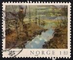 Stamps Norway -  Self-Portrait por Christian Skredsvig