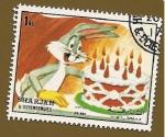 Stamps Asia - United Arab Emirates -  SHARJAH - Personajes  de la Warner - Cumpleaños de Bugs Bunny