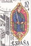 Sellos de Europa - España -  Vidriera- rey Biblico Catedral de León (27)