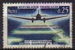 Sellos del Mundo : Europa : Francia : FRANCIA 1964 Michel 1471 Sello 25 Aniversario Servicio Aeropostal de Noche Usado Aviones