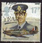 Stamps United Kingdom -  GRAN BRETAÑA 1986 1085 Sello Heroes Aviación Lord Dowding Hurricane Great Britain Usado
