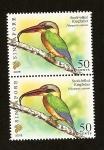 Sellos del Mundo : Asia : Singapur : Aves -  Alción pico de cigüeña Kingfisher