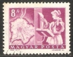 Stamps Hungary -  Mapa de Budapest y telefono automatico