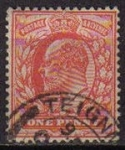 Stamps Europe - United Kingdom -  Gran Bretaña 1911 Scott 147 Sello Rey Eduardo VII usado Great Britain