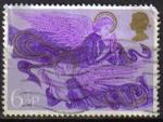 Stamps United Kingdom -  Gran Bretaña 1975 Scott 758 Sello Navidad Angeles con Arpa y Laud usado Great Britain