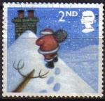 Stamps : Europe : United_Kingdom :  GRAN BRETAÑA 2004 2244 Sello Navidad Santa Claus andando por el tejado hacia chimenea Great Britain
