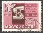 Sellos de Europa - Hungría -  0 anivesario de la Organización Internacional del Trabajo