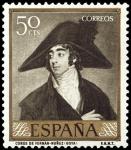 Stamps Spain -  ESPAÑA SEGUNDO CENTENARIO NUEVO Nº 1212 ** 50C OLIVA OSCURO GOYA