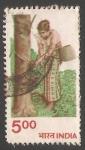 Stamps India -  Extracción de caucho