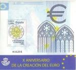 Stamps Spain -  X aniversario de la creacion del euro.